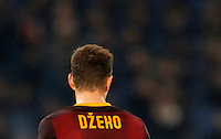 Calcio, Champions League: Gruppo E - Roma vs Bate Borisov. Roma, stadio Olimpico, 9 dicembre 2015.<br /> Roma's Edin Dzeko reacts after missing a scoring chance during the Champions League Group E football match between Roma and Bate Borisov at Rome's Olympic stadium, 9 December 2015.<br /> UPDATE IMAGES PRESS/Riccardo De Luca