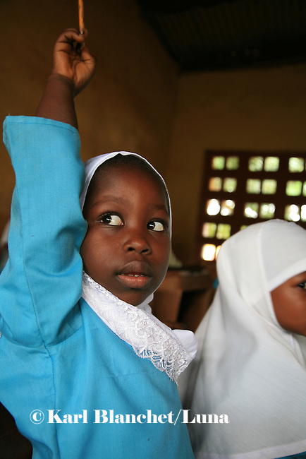 A pupil from the Islamic school in Sunyani, Ghana, wanting to answer to the question asked by her teacher. In Ghana, coranic schools were transformed into islamic schools. Pupils learn the mainstream curriculum and have additional courses in arabic and islam.