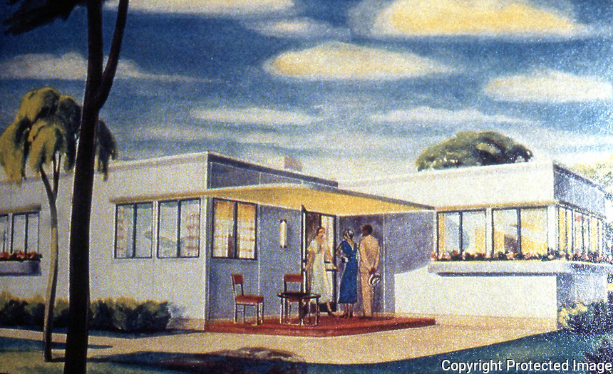 Utopia:  Houses of the Future--Howard Fisher, General Houses, Prefabricated House advertised in FORTUNE MAGAZINE, 1932. YESTERDAY'S TOMORROWS.