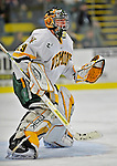 15 February 2008: University of Vermont Catamounts' goaltender Joe Fallon, a Senior from Bemidji, MN, in action against the Merrimack College Warriors at Gutterson Fieldhouse in Burlington, Vermont. The Catamounts defeated the Warriors 4-1 in the first game of their 2-game weekend series...Mandatory Photo Credit: Ed Wolfstein Photo