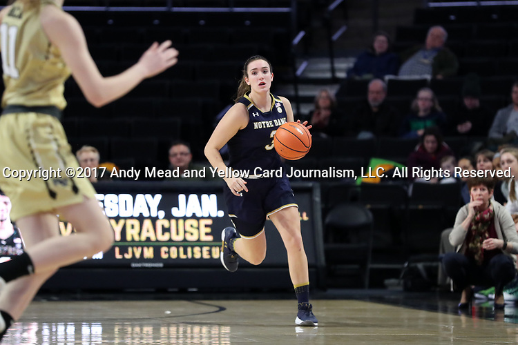 WINSTON-SALEM, NC - DECEMBER 31: Notre Dame's Marina Mabrey. The Wake Forest University Demon Deacons hosted the Notre Dame University Fighting Irish on December 31, 2017 at Lawrence Joel Veterans Memorial Coliseum in Winston-Salem, NC in a Division I women's college basketball game. Notre Dame won the game 96-73.