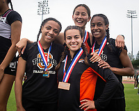 3rd place finishers in the 4 x 100 meters - Naomi Miyamoto '21, Emma Yudelevitch '19, LaShauna Porter '20 and Jada Newkirk '21<br /> The Occidental College men's and women's track and field teams compete in the 2019 Southern California Intercollegiate Athletic Conference (SCIAC) Track and Field Championships at the Claremont-Mudd-Scripps Burns Track Complex in Claremont, Calif. on Sunday, April 28, 2019.<br /> After the two-day SCIAC Championships CMS scored 211.50 points, followed by Pomona-Pitzer (171.50), Redlands (114), Occidental (92.50), Whittier (57.50), La Verne (54), Cal Lutheran (48), Chapman (23) and Caltech (4).