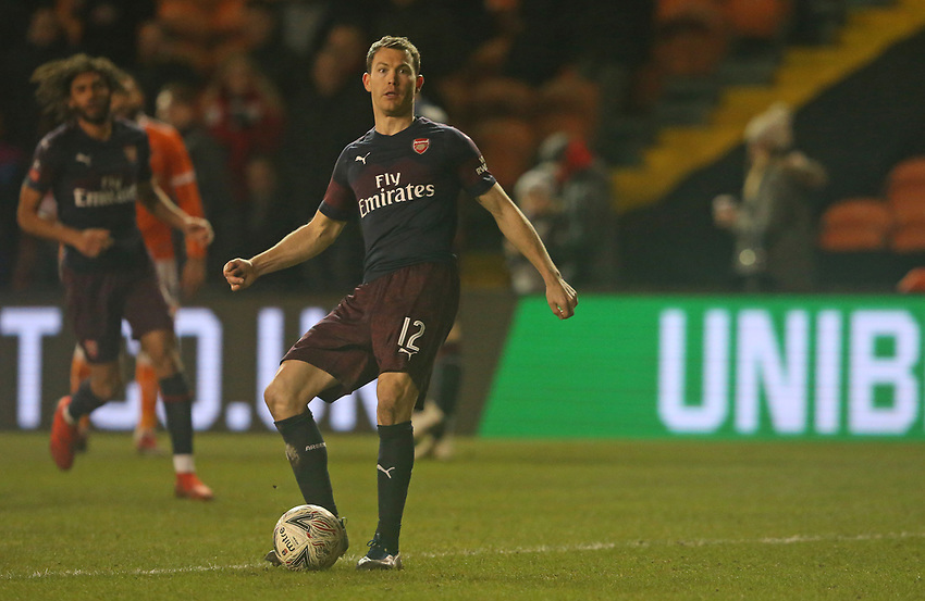 Arsenal's Stephan Lichtsteiner<br /> <br /> Photographer Stephen White/CameraSport<br /> <br /> Emirates FA Cup Third Round - Blackpool v Arsenal - Saturday 5th January 2019 - Bloomfield Road - Blackpool<br />  <br /> World Copyright © 2019 CameraSport. All rights reserved. 43 Linden Ave. Countesthorpe. Leicester. England. LE8 5PG - Tel: +44 (0) 116 277 4147 - admin@camerasport.com - www.camerasport.com