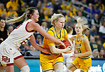 SIOUX FALLS, SD - MARCH 8: Raquel Terrer van Gool #33 of the North Dakota State Bison protects the ball as she drives to the basket against Madison Nelson #23 of the Denver Pioneers at the 2020 Summit League Basketball Championship in Sioux Falls, SD. (Photo by Richard Carlson/Inertia)