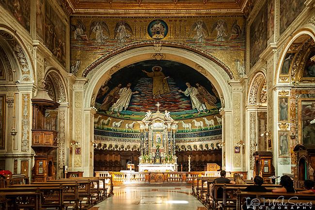 The magnificent interior of the Santi Cosma e Damiano basilica in the Roman Forum, Rome, Italy