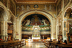 The magnificent interior of the Santi Cosma e Damiano basilica in the Roman Forum, Rome, Italy