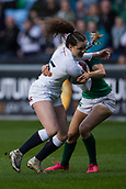 16th March 2018, Ricoh Arena, Coventry, England; Womens Six Nations Rugby, England Women versus Ireland Women; Ellie Kildunne of England is tackled by Hannah Tyrrell of Ireland