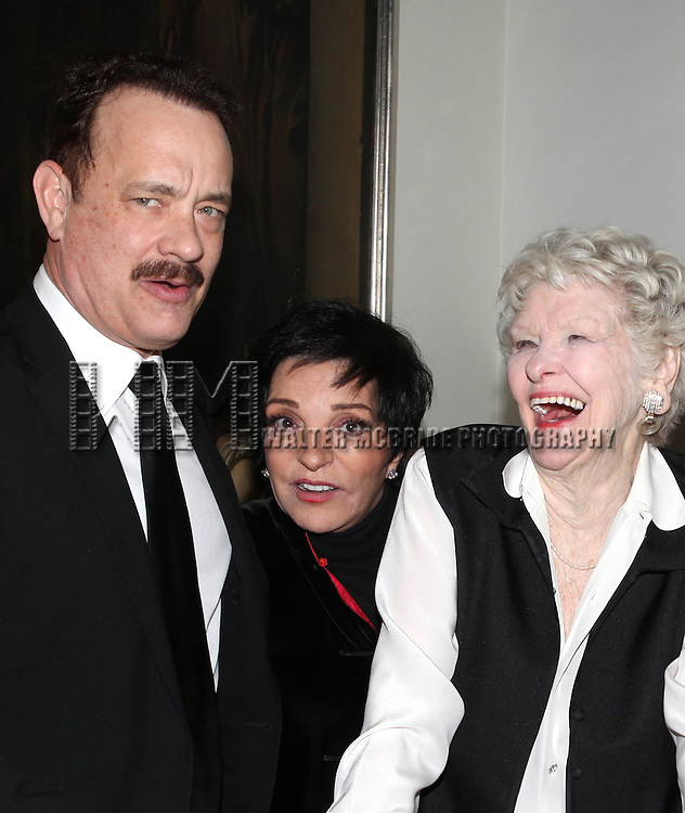 Tom Hanks, Liza Minnelli, Elaine Stritch attending an after performance reception for  'Elaine Stritch: 'Movin' Over And Out' her final engagement ever at the Cafe Carlyle in New York City on 4/2/2013