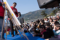 Mr Saito and Japanese actor, Kai Ato announce the prizes after The Ashigara River festival, Kintaro duck-race in Matsuda, Kanagawa, Japan April 25th 2010