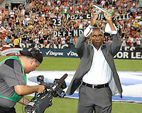 Eddie Pope greets the fans after being inducted into the Hall of Tradition of D.C. United during an MLS match against the Los Angeles Galaxy at RFK Stadium on July 18 2010, in Washington D.C. Galaxy won 2-1.