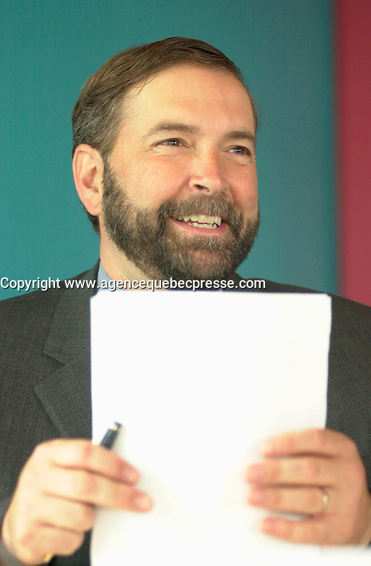 may 27, 2003, Montreal, Quebec, Canada.<br /> <br /> Thomas J Mulcair, Quebec new Environment Minister, speak at a press conference to disclose the trial use of Bio Diesel (H 20)for the last 6 months,<br />  by the Transit Commission in Montreal (Soci&Egrave;t&Egrave; de Transport de Montr&Egrave;al) ,  May 28, 2003.<br /> <br /> If done on a regular basis, it would help reduce pollution by city buses.<br /> <br /> <br /> Mandatory Credit: Photo by Pierre Roussel- Images Distribution. (&copy;) Copyright 2003 by Pierre Roussel