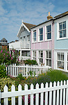Colourful terraced seafront cottages, Whitstable, Kent, England