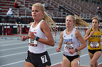 NWA Democrat-Gazette/BEN GOFF @NWABENGOFF<br /> Quinn Owen of Arkansas leads Reagan Hausmann of Tulsa and  Jordyn Kleve of Missouri in the women's 3,000 meter run Friday, April 12, 2019, at the John McDonnell Invitational at John McDonnell field in Fayetteville. Owen placed second to Kleve, who won with a time of 9 minutes 53.32 seconds.