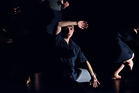 """Generalprobe der Auffuehrung """"Bodytalk"""".<br /> Im Bild: """"When my feet don't touch the ground"""", Choreographie: Laura Alonso.<br /> 28.3.2019, Berlin<br /> Copyright: Christian-Ditsch.de<br /> [Inhaltsveraendernde Manipulation des Fotos nur nach ausdruecklicher Genehmigung des Fotografen. Vereinbarungen ueber Abtretung von Persoenlichkeitsrechten/Model Release der abgebildeten Person/Personen liegen nicht vor. NO MODEL RELEASE! Nur fuer Redaktionelle Zwecke. Don't publish without copyright Christian-Ditsch.de, Veroeffentlichung nur mit Fotografennennung, sowie gegen Honorar, MwSt. und Beleg. Konto: I N G - D i B a, IBAN DE58500105175400192269, BIC INGDDEFFXXX, Kontakt: post@christian-ditsch.de<br /> Bei der Bearbeitung der Dateiinformationen darf die Urheberkennzeichnung in den EXIF- und  IPTC-Daten nicht entfernt werden, diese sind in digitalen Medien nach §95c UrhG rechtlich geschuetzt. Der Urhebervermerk wird gemaess §13 UrhG verlangt.]"""