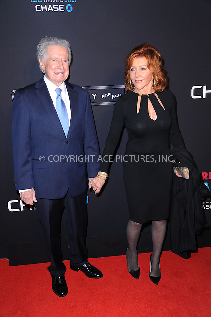 WWW.ACEPIXS.COM<br /> March 26, 2015 New York City<br /> <br /> Regis and Joy Philbin attending the 2015 New York Spring Spectacular at Radio City Music Hall on March 26, 2015 in New York City.<br /> <br /> Please byline: Kristin Callahan/AcePictures<br /> <br /> ACEPIXS.COM<br /> <br /> Tel: (646) 769 0430<br /> e-mail: info@acepixs.com<br /> web: http://www.acepixs.com