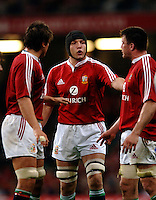 2005 British & Irish Lions vs Argentina, at The Millennium Stadium, Cardiff, WALES. played on  23.05.2005, Ben Kay [centre] discussing line out tactics, with left Donncha O'Callaghan and right Martin Corry..Photo  Peter Spurrier...