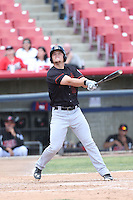 Justin Seager (10) of the Bakersfield Blaze bats during a game against the High Desert Mavericks at Mavericks Stadium on May 18, 2015 in Adelanto, California. High Desert defeated Bakersfield, 7-6. (Larry Goren/Four Seam Images)