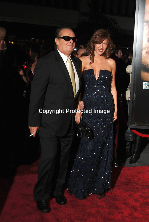 "Jack Nicholson and Paz de la Huerta..arriving at The New York Premiere of "" The Departed"" ..directed by Martin Scorsese and starring Leonardo DiCaprio, Jack Nicholson, Matt Damon and Mark Wahlberg..on September 26, 2006 at The Ziegfeld Theatre...Robin Platzer, Twin Images"