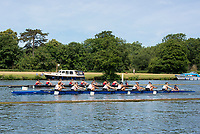 "Henley on Thames, United Kingdom, 24th June 2018, Sunday, ""Henley Women's Regatta"", view, a heat of the Junior women's eights, in progress between, in white, ""Phillips Academy, USA"", and in Red, ""National Cathedral School USA"".  Henley Reach, River Thames, England, © Peter SPURRIER  24/06/2018"
