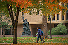 November 3, 2016; Statue known as First Down Moses outside Hesburgh Library (Photo by Matt Cashore/University of Notre Dame)