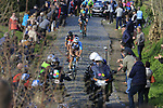 Oliver Naesen (BEL) AG2R leads Greg Van Avermaet (BEL) BMC and Philippe Gilbert (BEL) Quick-Step Floors up Oude Kwaremont during the 60th edition of the Record Bank E3 Harelbeke 2017, Flanders, Belgium. 24th March 2017.<br /> Picture: Eoin Clarke | Cyclefile<br /> <br /> <br /> All photos usage must carry mandatory copyright credit (&copy; Cyclefile | Eoin Clarke)