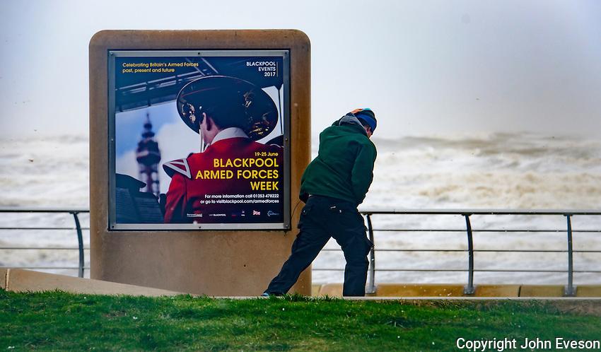 Winds reach 90 mph at Blackpool, Lancashire during storm Doris.