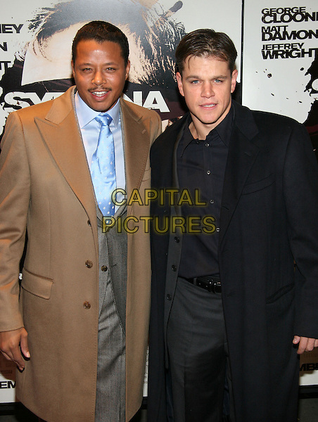 "TERRENCE HOWARD & MATT DAMON.""Syriana"" world premiere at Lowes Lincoln Square Theatre, New York, NY.  .November 20th, 2005.Photo: Jackson Lee/Admedia/Capital Pictures.Ref: JL/ADM.half length brown black jacket coat.www.capitalpictures.com.sales@capitalpictures.com.© Capital Pictures."
