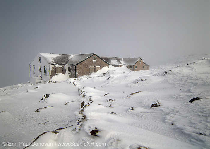 Lakes of the Clouds Hut, along the Appalachian Trail (Crawford Path),  in whiteout conditions in the White Mountains of New Hampshire. On a clear day Mount Washington can be seen in the background.