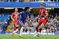 Willian of Chelsea takes on Huddersfield Town's Phil Billing during Chelsea vs Huddersfield Town, Premier League Football at Stamford Bridge on 9th May 2018