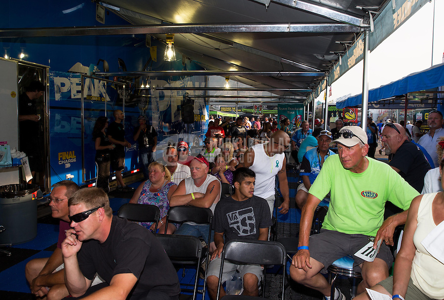 Sept. 1, 2013; Clermont, IN, USA: NHRA charity auction after qualifying for the US Nationals at Lucas Oil Raceway. Mandatory Credit: Mark J. Rebilas-
