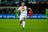 Andre Ayew of Swansea makes the run that leads to his first half goal during the Barclays Premier League match between Swansea City and Sunderland played at the Liberty Stadium, Swansea  on  January the 13th 2016