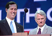 New York, NY - September 1, 2004 --  United States Senators Rick Santorum (Republican of Pennsylvania) and Zell Miller (Democrat of Georgia) participate in a rehearsal before the fourth session of the 2004 Republican National Convention in New York on September 1, 2004..Credit: Ron Sachs / CNP.(RESTRICTION: No New York Metro or other Newspapers within a 75 mile radius of New York City)