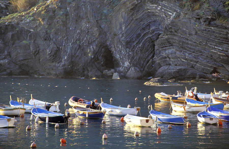 Fishing boats in harbor, Vernazza, Italy