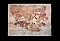 Minoan wall art fresco from the Throne Room of Knossos, 1450-1300 BC. Heraklion Archaeological Museum. Black Background. <br /> <br /> This Minoan fresco depicts griffins and palm trees
