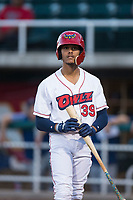 Orem Owlz shortstop Jeremiah Jackson (39) steps into the batter's box during a Pioneer League game against the Ogden Raptors at Home of the OWLZ on August 24, 2018 in Orem, Utah. The Ogden Raptors defeated the Orem Owlz by a score of 13-5. (Zachary Lucy/Four Seam Images)