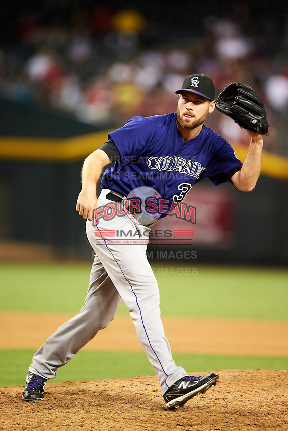 Colorado Rockies pitcher Adam Ottavino #37 during a National League regular season game against the Arizona Diamondbacks at Chase Field on October 3, 2012 in Phoenix, Arizona. Colorado defeated Arizona 2-1. (Mike Janes/Four Seam Images)