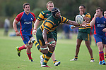 Manoa Lesavua attemps to catch a wayward pass during the Counties Manukau Premier Club Rugby game between Ardmore Marist and Pukekohe, played at Bruce Pulman Park Papakura, on April 16th 2011..Ardmore Marist won 23 - 16 after leading 23 - 6 at halftime.