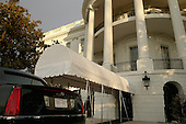 """United States President Barack Obama's limousine, nicknamed """"The Beast,"""" dons new District of Columbia """"Taxation Without Representation"""" license plates outside the White House the morning of the ceremonial Inaugural ceremony January 21, 2013 in Washington, DC. Obama and Vice President Joe Biden will begin their second term in office by taking the Oath of Office later in the morning during a ceremony on the West Front of the U.S. Capitol. .Credit: Chip Somodevilla / Pool via CNP"""