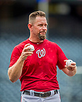 15 August 2017: Washington Nationals 3rd Base Coach Bob Henley works the team out prior to a game against the Los Angeles Angels at Nationals Park in Washington, DC. The Nationals defeated the Angels 3-1 in the first game of their 2-game series. Mandatory Credit: Ed Wolfstein Photo *** RAW (NEF) Image File Available ***