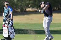 Ricardo Gouveia (POR) plays his 2nd shot on the 9th hole during Thursday's Round 1 of the 2016 Portugal Masters held at the Oceanico Victoria Golf Course, Vilamoura, Algarve, Portugal. 19th October 2016.<br /> Picture: Eoin Clarke | Golffile<br /> <br /> <br /> All photos usage must carry mandatory copyright credit (&copy; Golffile | Eoin Clarke)