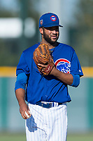AZL Cubs 1 starting pitcher Jesus Tejada (55) during an Arizona League game against the AZL Indians 1 at Sloan Park on August 27, 2018 in Mesa, Arizona. The AZL Cubs 1 defeated the AZL Indians 1 by a score of 3-2. (Zachary Lucy/Four Seam Images)