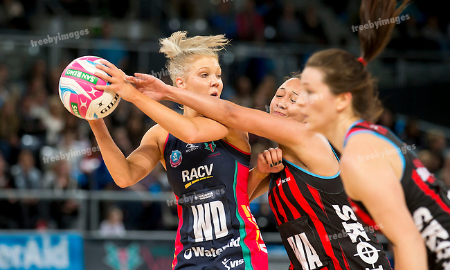 26/04/2015<br /> ANZ Championship 2015<br /> Round 9 Vixens v Tactix at Hisense Arena<br /> <br /> Kate Moloney<br /> <br /> Photo: Grant Treeby