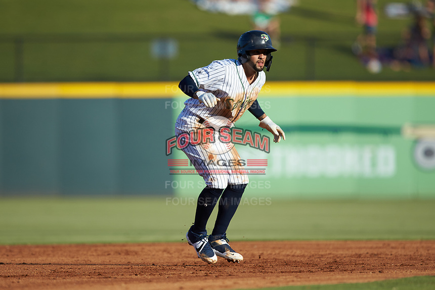 Jack Lopez (1) of the Gwinnett Stripers takes his lead off of second base against the Scranton/Wilkes-Barre RailRiders at BB&T BallPark on August 17, 2019 in Lawrenceville, Georgia. The Stripers defeated the RailRiders 8-7 in eleven innings. (Brian Westerholt/Four Seam Images)
