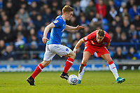 Connor Ronan of Portsmouth is tracked by Lee Martin of Gillingham during Portsmouth vs Gillingham, Sky Bet EFL League 1 Football at Fratton Park on 10th March 2018