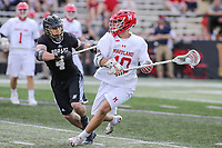 College Park, MD - May 14, 2017: Maryland Terrapins Jared Bernhardt (10) passes the ball during the NCAA first round game between Bryant and Maryland at  Capital One Field at Maryland Stadium in College Park, MD.  (Photo by Elliott Brown/Media Images International)