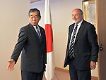 May 25th, 2011, Tokyo, Japan - Japanese Foreign Minister Takeaki Matsumoto, left, greets Britain's Michael Weightman, the leader of an International Atomic Energy Agency's nuclear safety review team, during their meeting at the Foreign Ministry in Tokyo on Wednesday, May 25, 2011. The IAEA team arrived in Japan Tuesday on a mission to investigate the radiation-leaking nuclear power plant in Fukushima, some 200km northeast of Tokyo. The latest information suggested that nuclear fuel had mostly melted in three out of six reactors in the early days after the March 11 earthquake and tsunami. (Photo by Natsuki Sakai/AFLO) [3615] -mis-.