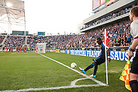 Freddy Adu (11) of the Philadelphia Union takes a corner kick. The Chicago Fire defeated the Philadelphia Union 3-1 during a Major League Soccer (MLS) match at PPL Park in Chester, PA, on August 12, 2012.