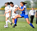Wesclin's Tori Calvert (left) and Roxana's Emma Lucas battle for control of the ball in the second half. Roxana High School defeated Wesclin High School 3-2 to win the Class 1A Girls Soccer Regional at Breese Central High School on Friday May 11, 2018. Tim Vizer | Special to STLhighschoolsports.com