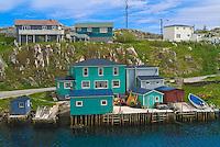 colorful houses in coastal village<br /> Rose Blanche<br /> Newfoundland<br /> Canada