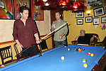 As The World Turns Tom Pelphrey shoots pool with Dennis (Apothacary Theater) watching at the Celebrity Bartending Bash on May 14 at Martini's Upstairs, Marco Island, Florida - SWFL Soapfest Charity Weekend May 14 & !5, 2011 benefitting several children's charities including the Eimerman Center providing educational & outreach services for children for autism. see www.autismspeaks.org. (Photo by Sue Coflin/Max Photos)